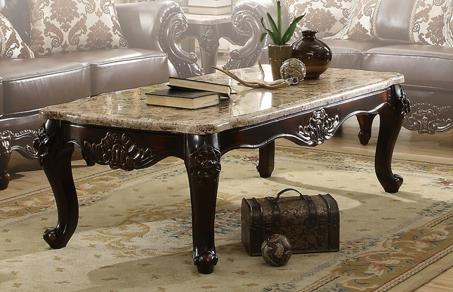 dark brown traditional coffee table with genuine marble top