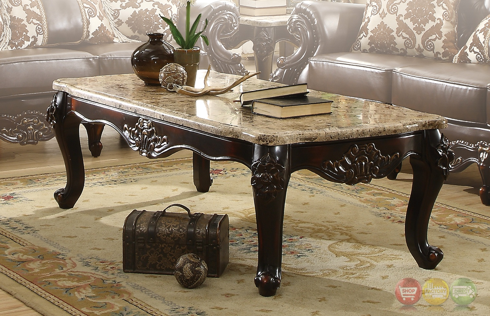 Barcelona Dark Brown Traditional Coffee Table With Genuine Marble Top