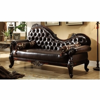 Barcelona Dark Brown Tufted Leather Chaise With Carved Frame Designs