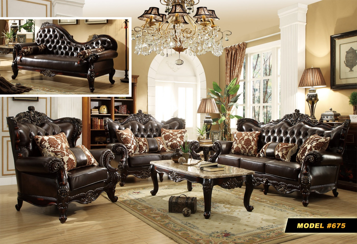 Barcelona dark brown tufted leather chaise with carved for Chaise barcelona