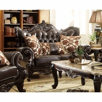Barcelona Dark Brown Tufted Leather Loveseat With Carved Frame Designs