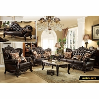 Barcelona Dark Brown Tufted Leather Sofa U0026 Loveseat Set With Carved Frame  Designs
