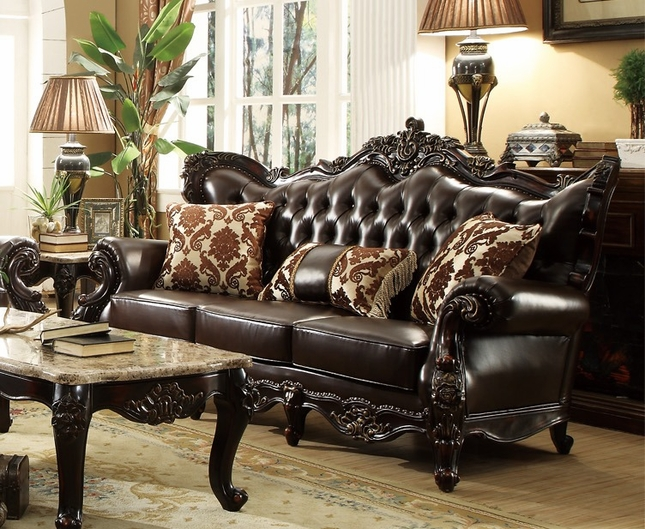 Beau Barcelona Dark Brown Tufted Leather Sofa With Carved Frame Designs
