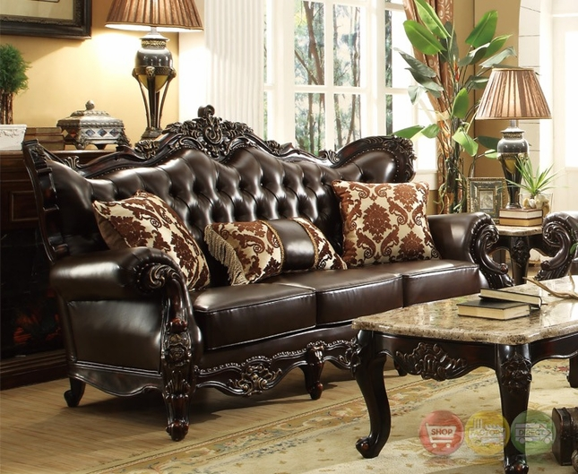 Barcelona dark brown tufted leather sofa with carved frame for Sofas 4 plazas barcelona