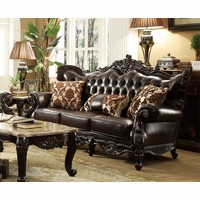 Barcelona Dark Brown Tufted Leather Sofa With Carved Frame Designs
