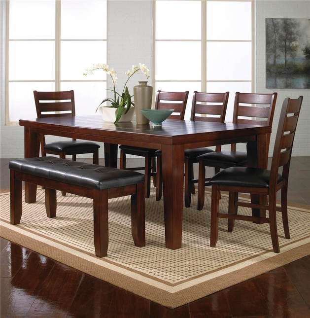 Bardstown Dining Room Set Table Chairs & Bench Dark Oak Finish