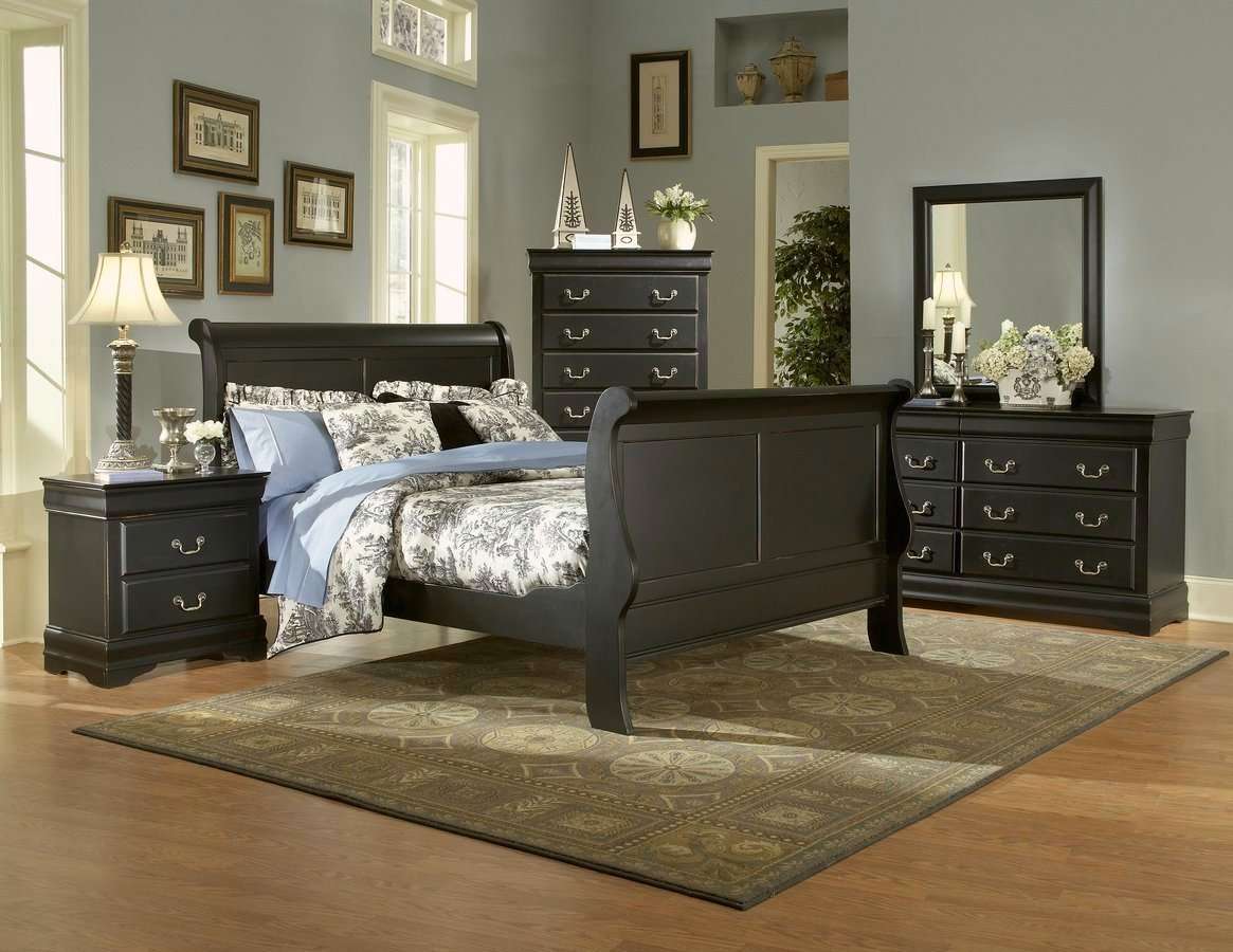 Bastille Black Finish Classic Sleigh Bedroom Furniture Set Free Shipping