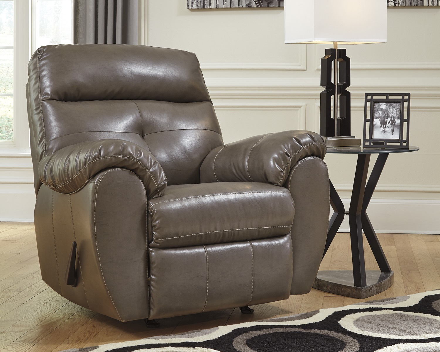 Bastrop steel gray bonded leather casual contemporary sofa for Gray leather sofa set