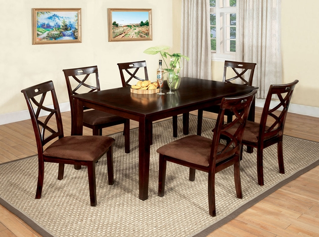 Baxter Contemporary Dark Walnut Casual 7 pc Dining Set Microfiber Seats