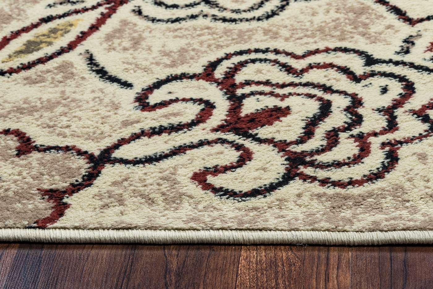 Bay Side Abstract Floral Pattern Area Rug In Khaki