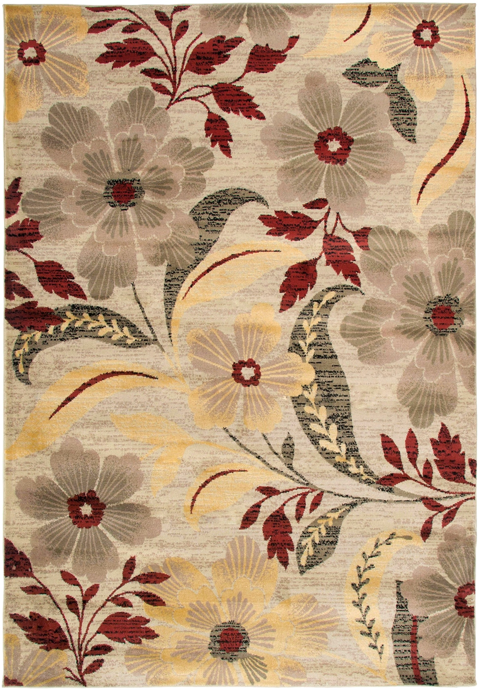 Bay Side Floral Area Rug In Grey Sage Burgundy Yellow 3 3