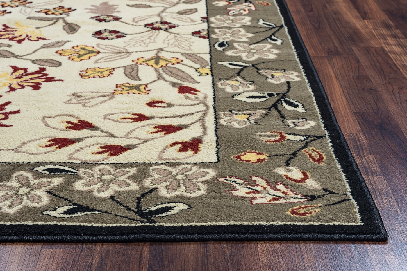 Grey Tan And Brown Area Rug: Bay Side Floral Border Pattern Area Rug In Beige Grey