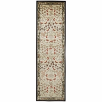 """Bay Side Soft Loom Runner Area Rug 2'3 x 7'7""""Tan Grey Burgundy Red Yellow/Floral"""