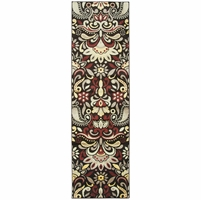 """Rizzy Bay Side Soft Loom Runner Area Rug 2'3 x 7'7""""Black Yellow Red Khaki Floral"""