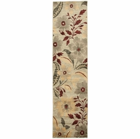"""Bay Side Soft Loom Runner Area Rug 2'3 x 7'7"""" Grey Green Brown Red Yellow Floral"""