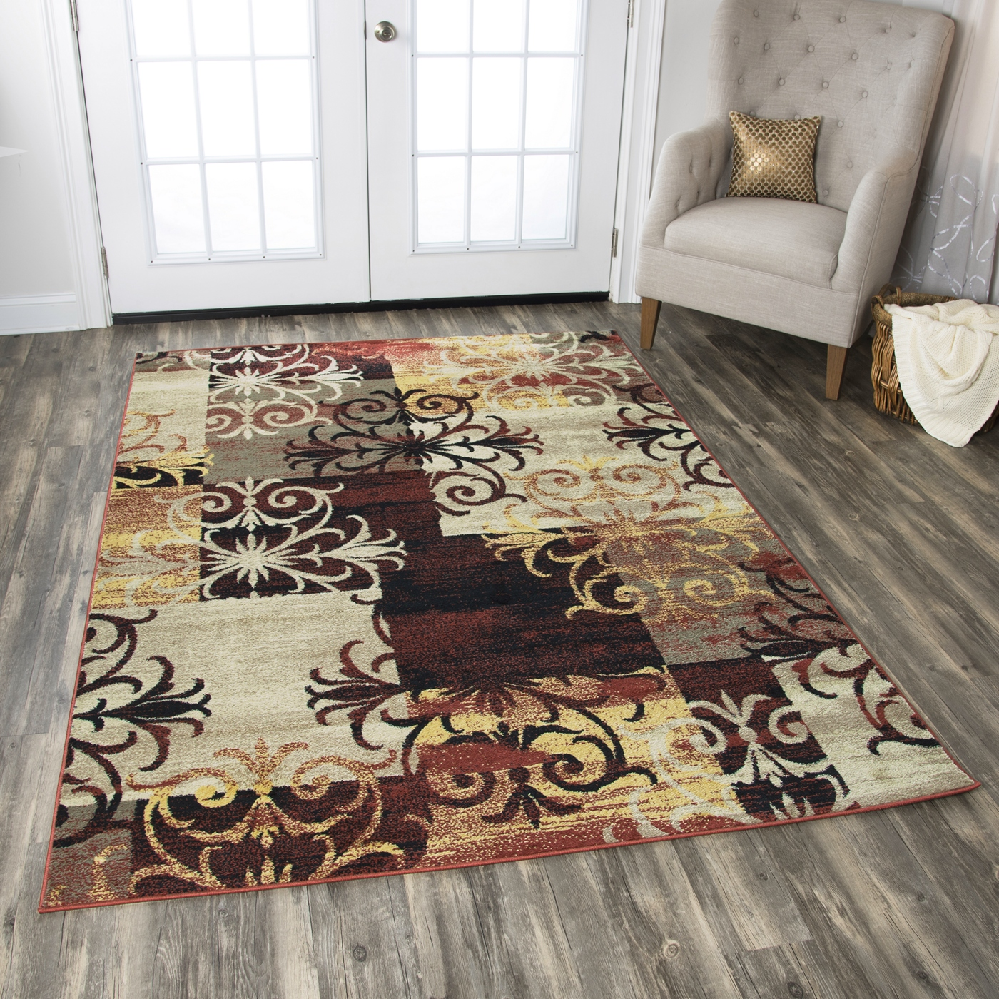 Bay Side Rustic Patchwork Area Rug In Red Black Khaki
