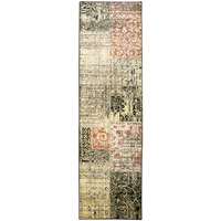 """BaySide Soft Jute Durable Runner Area Rug 2'3 x 7'7""""Black Yellow Red Khaki Patch"""