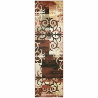 """BaySide Soft Jute Durable Runner Area Rug 2'3 x 7'7""""Red Black Khaki Yellow Patch"""
