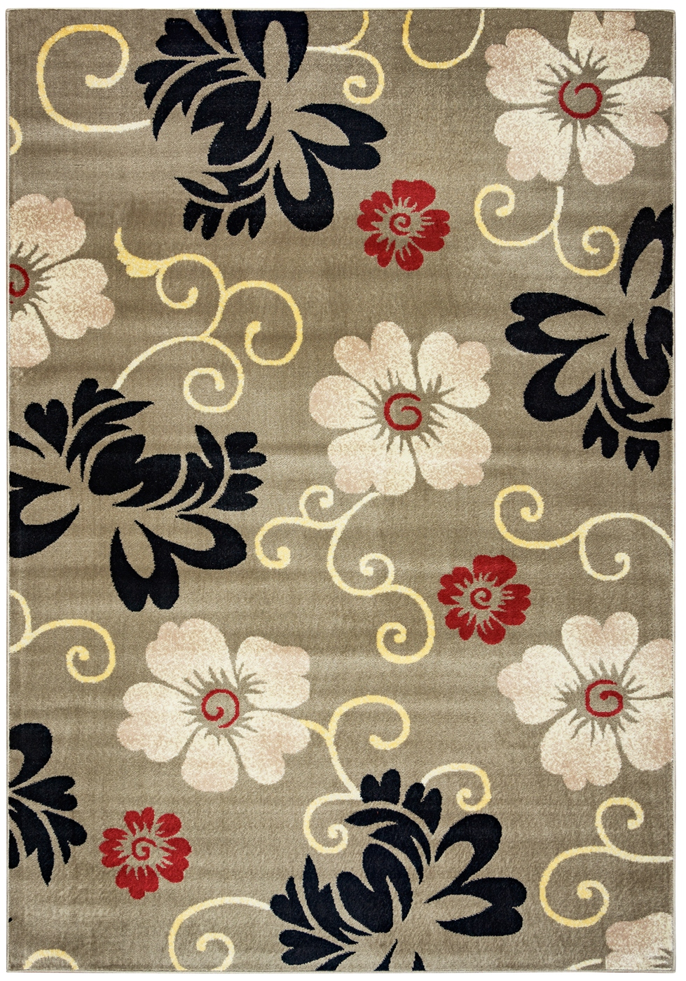 Bay Side Simple Floral Area Rug In Grey Ivory Black Red 6