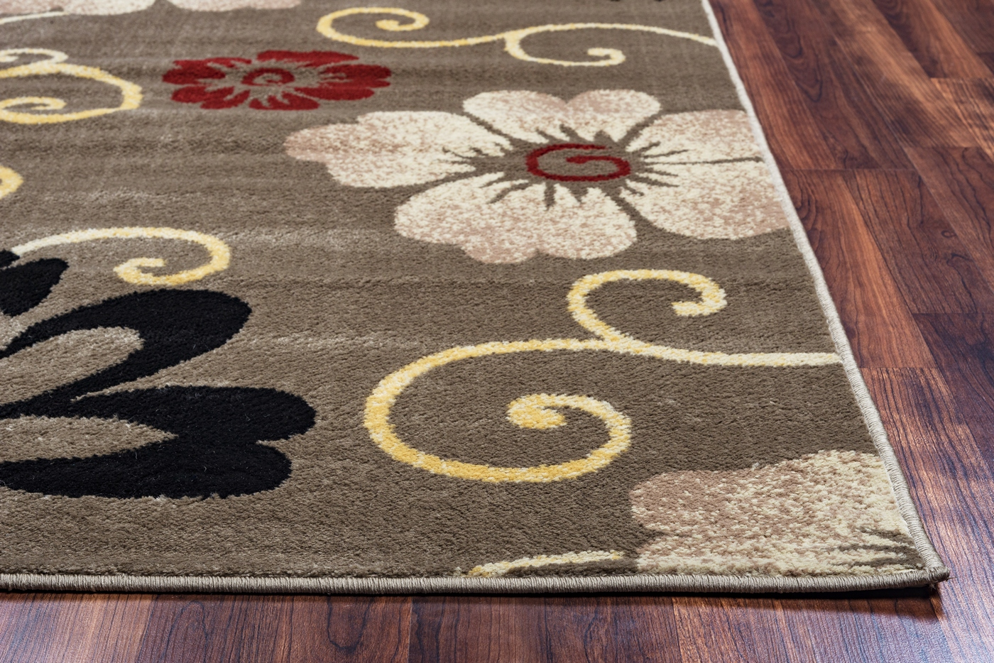 Bay Side Simple Floral Area Rug In Grey Ivory Black Red 7