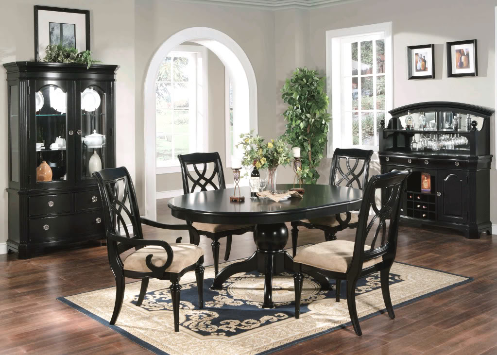 formal dining sets On black dining room furniture