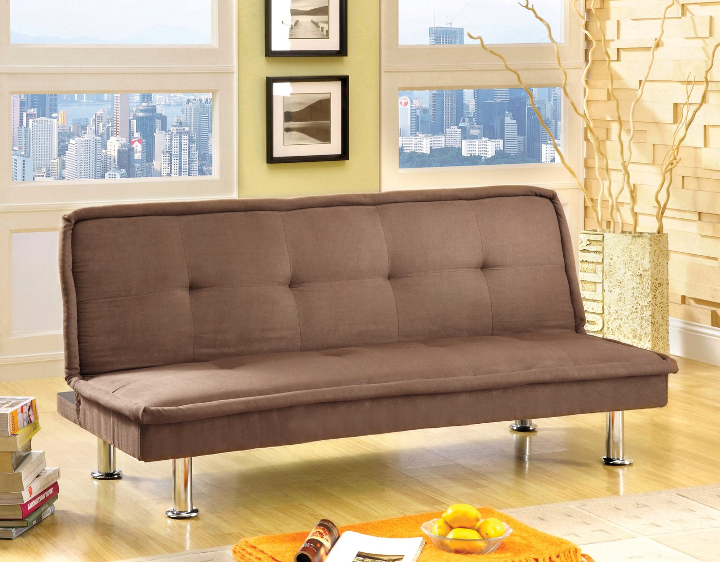 Beach Front I Contemporary Mocha Futon Sofabed With