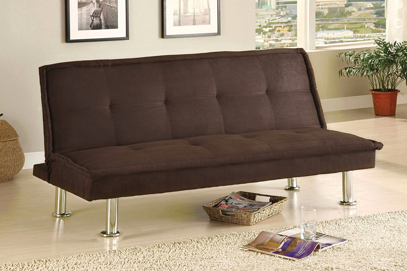 Melina II Contemporary Futon Sofabed with Brown Microfiber Seating ...