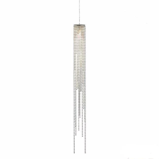 Flowing Beads Brushed Nickel Single Modern Pendant Light Fixture 6341