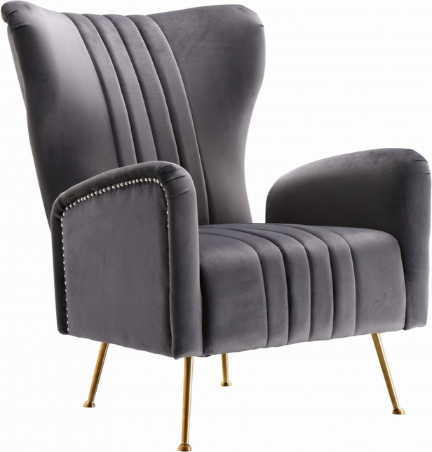 Beau Modern Plush Grey Velvet Accent Chair With Gold