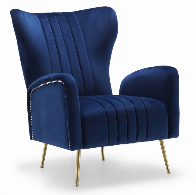 Beau Modern Plush Navy Blue Velvet Accent Chair With Gold Stainless Steel Legs