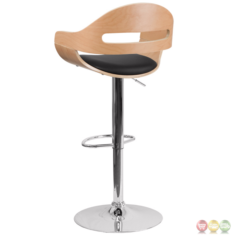 Beech Bentwood Adjustable Height Barstool W Black Vinyl