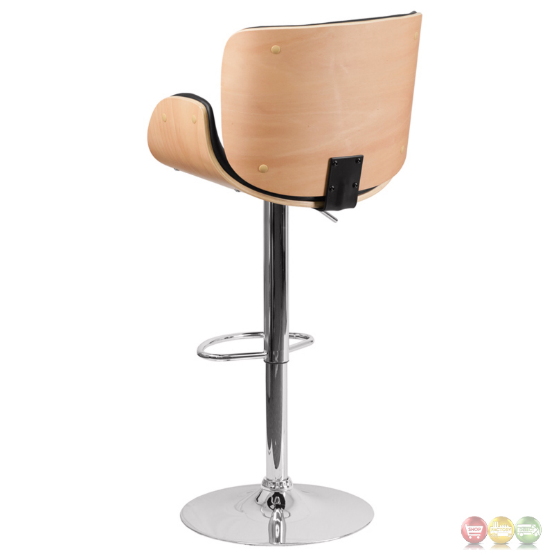 Beech Bentwood Adjustable Height Barstool With Curved  : beech bentwood adjustable height barstool with curved black vinyl seat 6 from shopfactorydirect.com size 800 x 800 jpeg 85kB