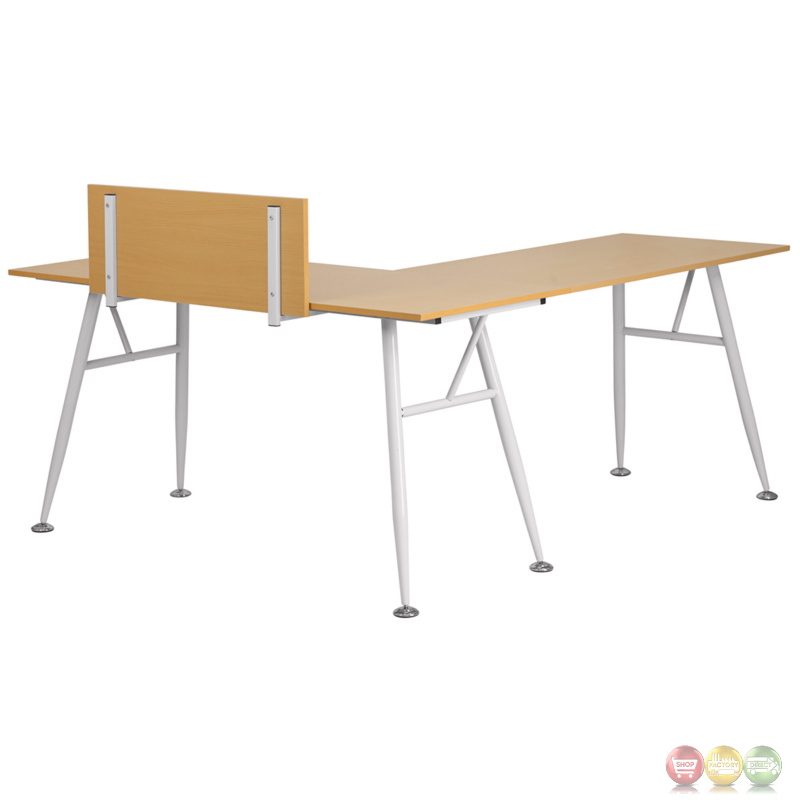 Beech Laminate L Shape Computer Desk With White Frame Finish