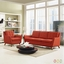 Mid-Century Modern Beguile 2pc Armchair & Loveseat Living Room Set, Atomic Red