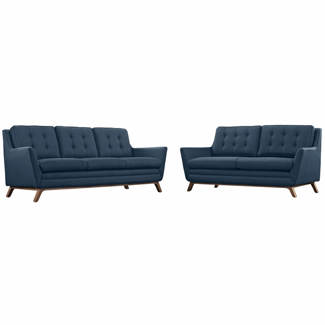 Mid-Century Modern Beguile 2pc Button-Tufted Sofa & Loveseat Set, Azure