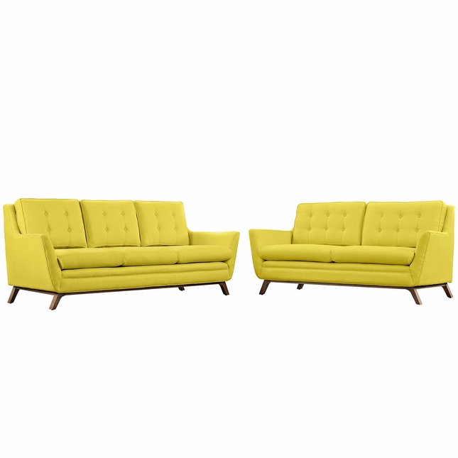 Mid-Century Modern Beguile 2pc Button-Tufted Sofa & Loveseat Set, Sunny