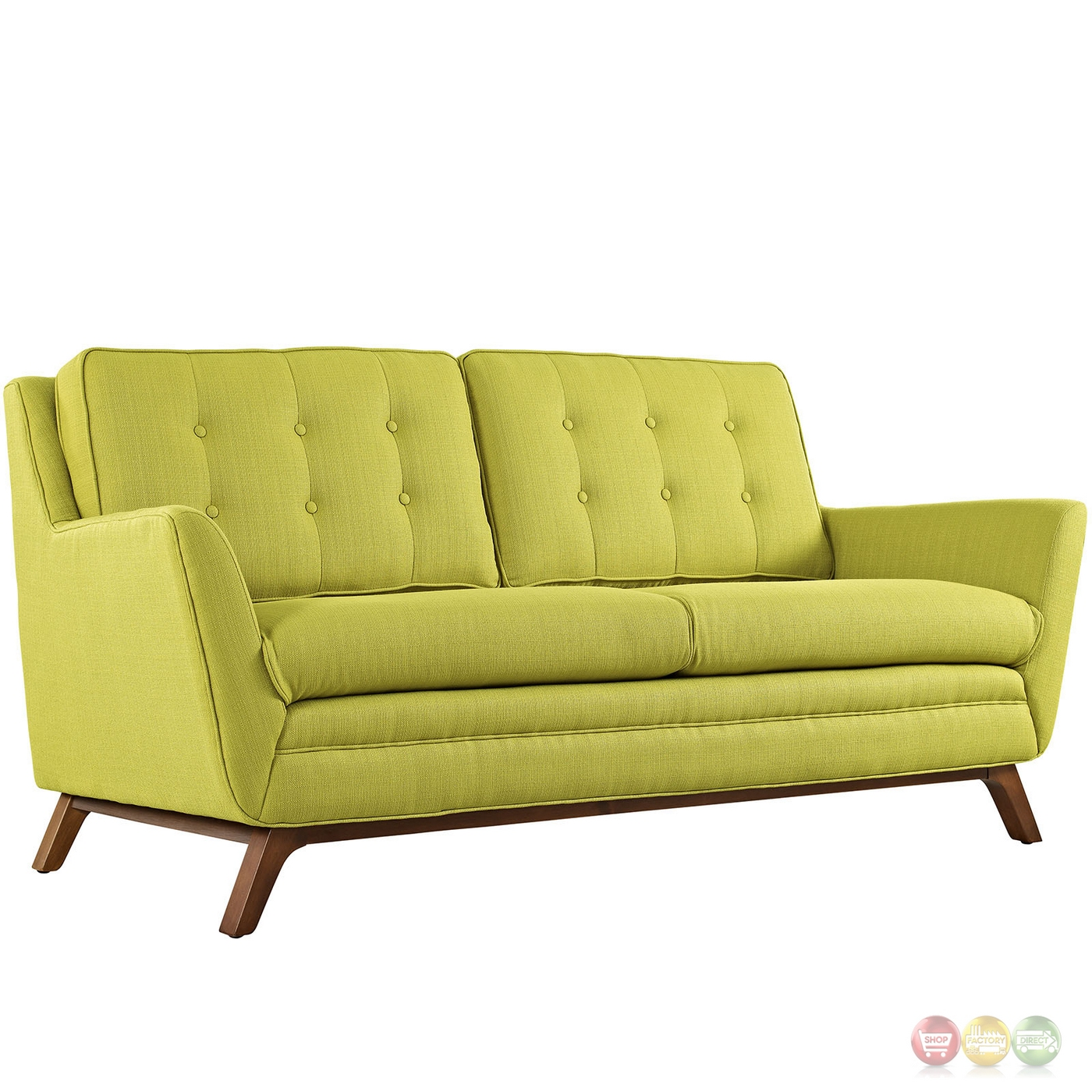 Beguile 2pc Upholstered Button Tufted Sofa Loveseat Set Wheatgrass