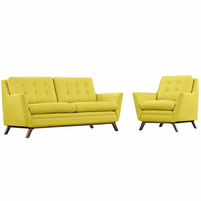 Mid-Century Modern Beguile 2pc Loveseat & Armchair Living Room Set, Sunny