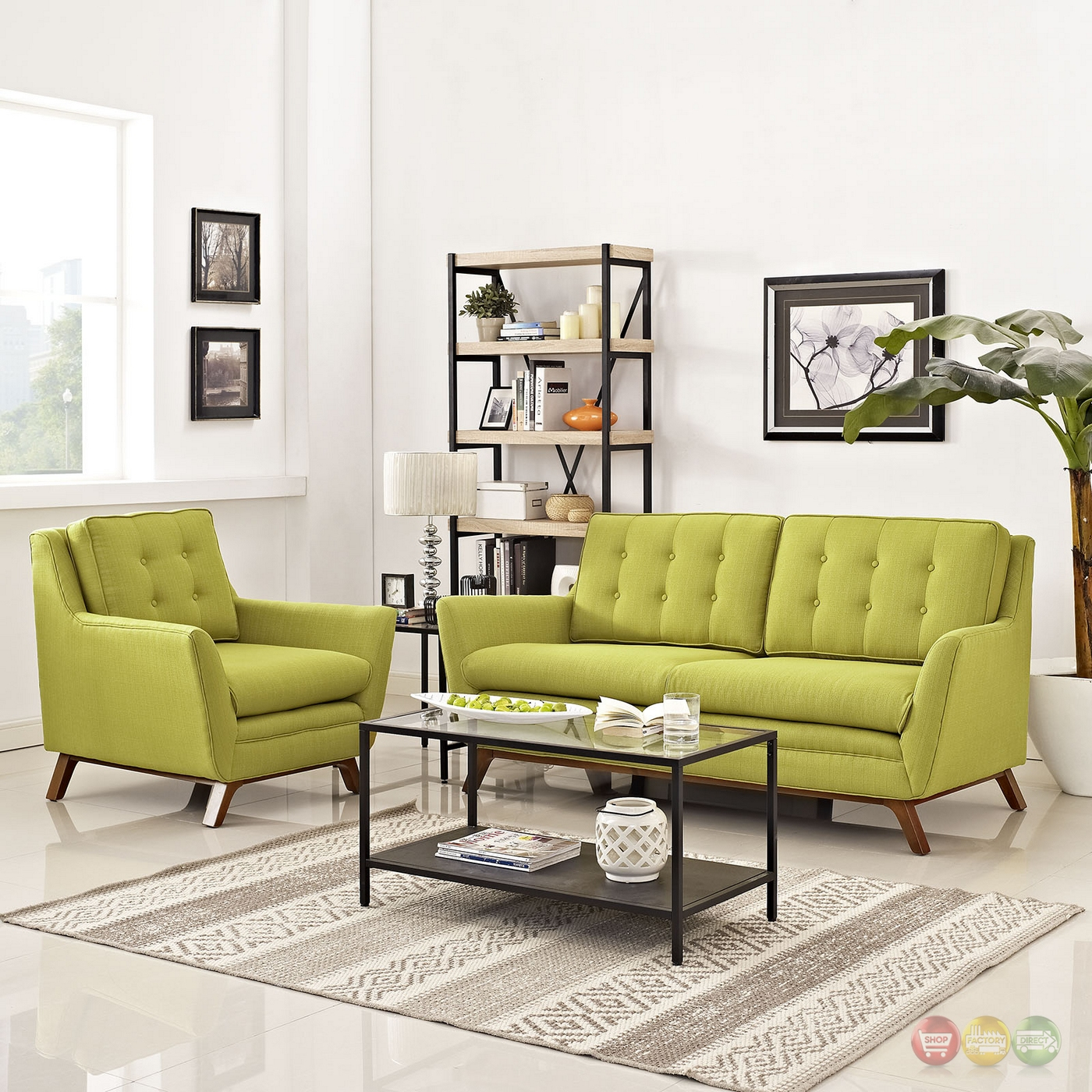 Beguile 2pc Upholstered Loveseat Armchair Living Room Set Wheatgrass