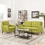 Mid-Century Modern Beguile 2pc Loveseat & Armchair Living Room Set, Wheatgrass