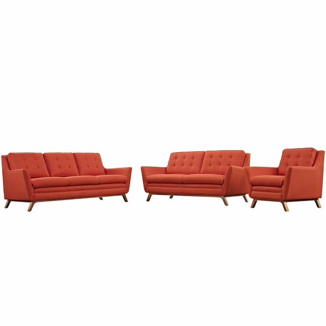 Mid-Century Modern Beguile 3pc Button-Tufted Sofa Set w/ Wood Legs, Atomic Red