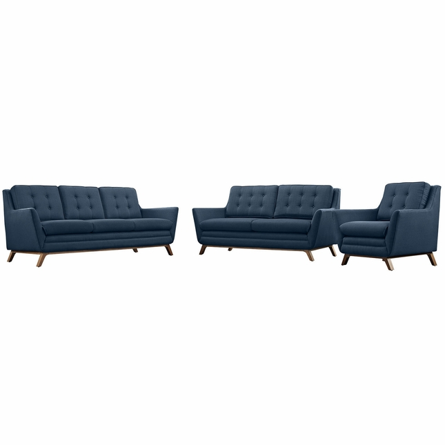 Mid-Century Modern Beguile 3pc Button-Tufted Sofa Set w/ Wood Legs, Azure