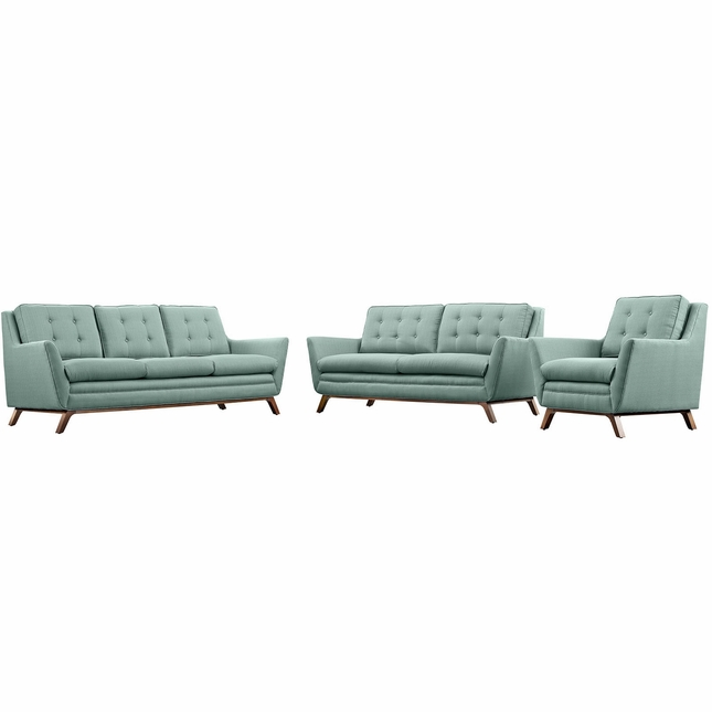 Mid-Century Modern Beguile 3pc Button-Tufted Sofa Set w/ Wood Legs, Laguna