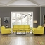 Mid-Century Modern Beguile 3pc Button-Tufted Sofa Set w/ Wood Legs, Sunny