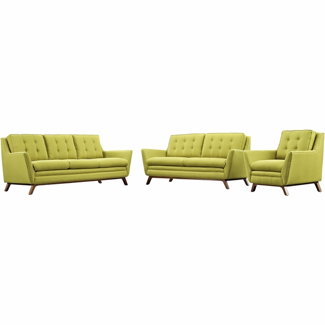 Mid-Century Modern Beguile 3pc Button-Tufted Sofa Set w/ Wood Legs, Wheatgrass