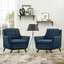 Mid-Century Modern Beguile 2pc Button-Tufted Fabric Living Room Set, Azure