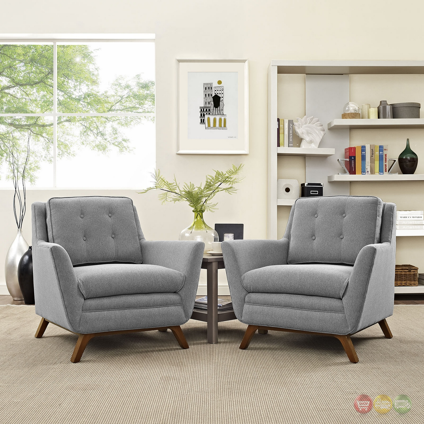 mid century modern beguile 2pc fabric living room set expectation gray. Black Bedroom Furniture Sets. Home Design Ideas