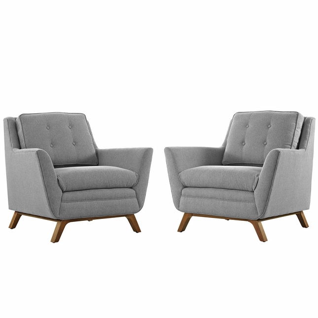 Mid-Century Modern Beguile 2pc Fabric Living Room Set, Expectation Gray