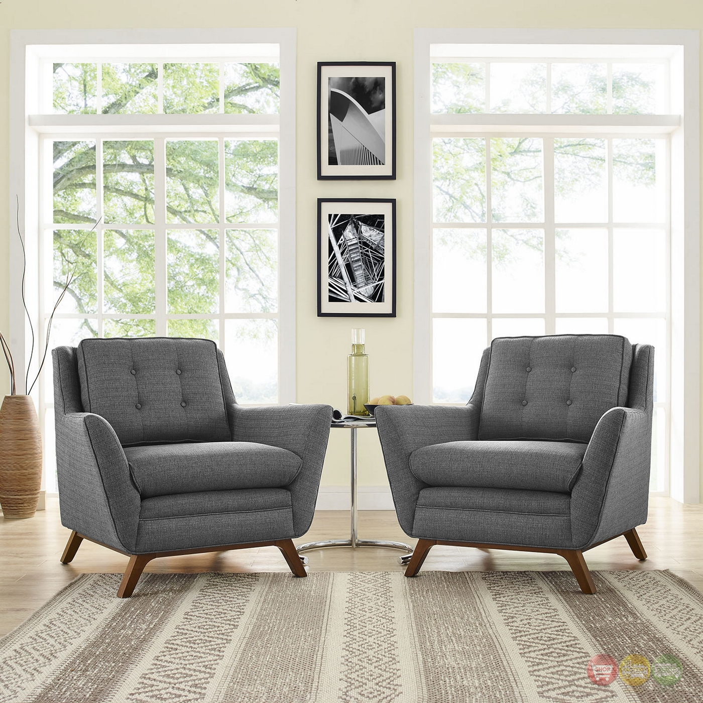 Living Room Sets: Mid-Century Modern Beguile 2pc Button-Tufted Fabric Living