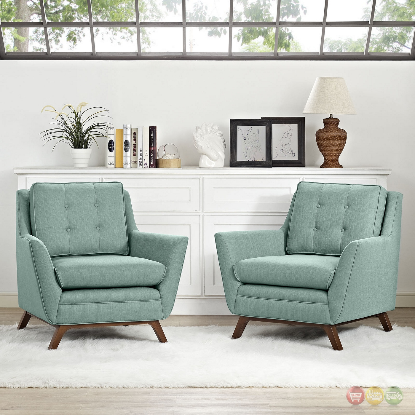 Beguile Contemporary 2pc Button Tufted Fabric Living Room Set Laguna